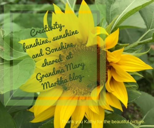 Creativity, funshine, sunshine and Sonshine, shared at Grandma Mary Martha blog.