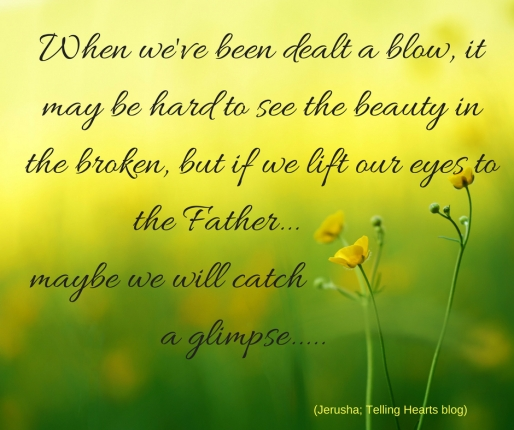 When we've been dealt a blow, it may be hard to see the beauty in the broken, but if we lift our eyes to the Father... maybe we will catch a glimpse.....