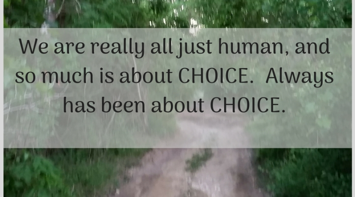 We are really all just human, and so much is about CHOICE. Always has been about CHOICE.