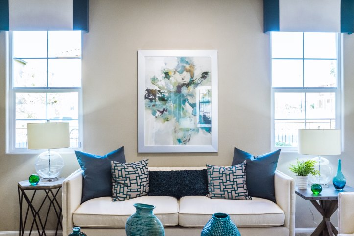 Neutral and Blue Living Space